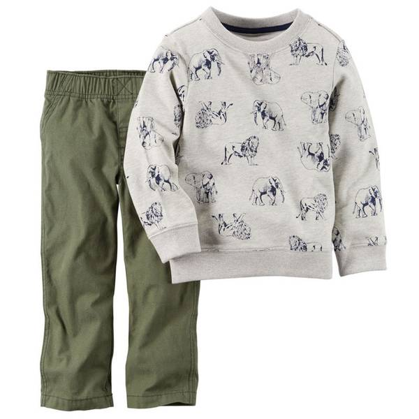 Baby Boy's Olive & Gray 2-Piece Pullover & Pants Set