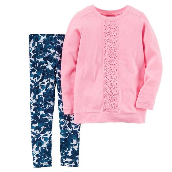 Baby Girl's Pink & Navy 2-Piece Top & Leggings Set