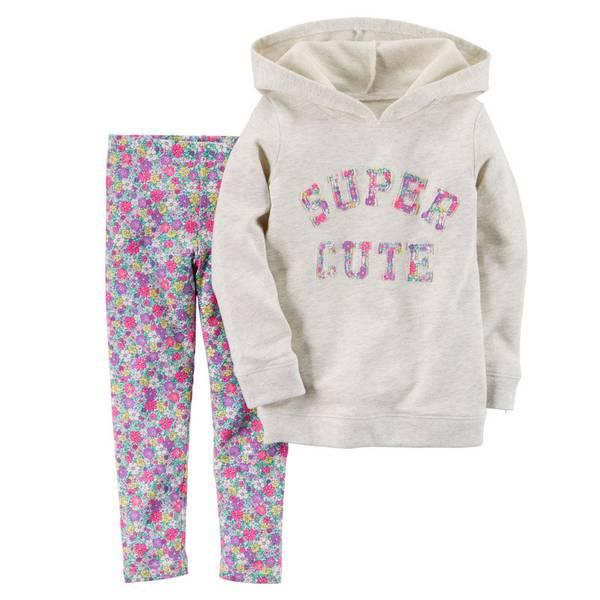 Infant Girl's Multi Colored Hooded Pullover & Leggings Set