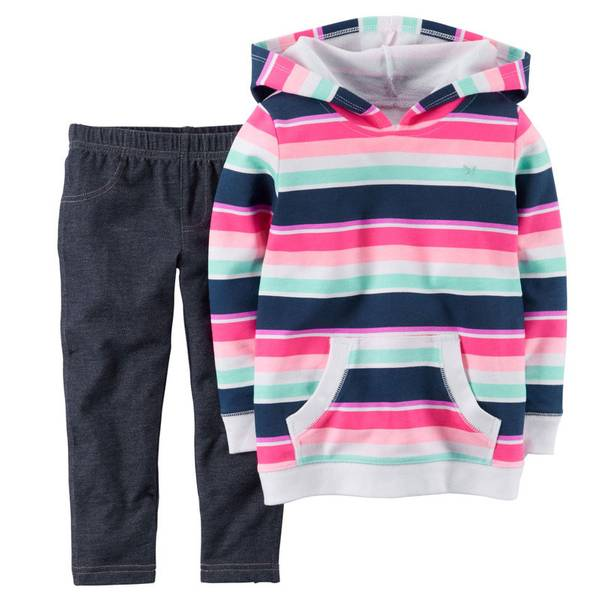 Baby Girl's Multi Colored Hooded Pullover & Jeggings Set