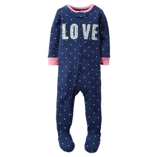 Infant Girl's Navy 1-Piece Cotton Pajamas