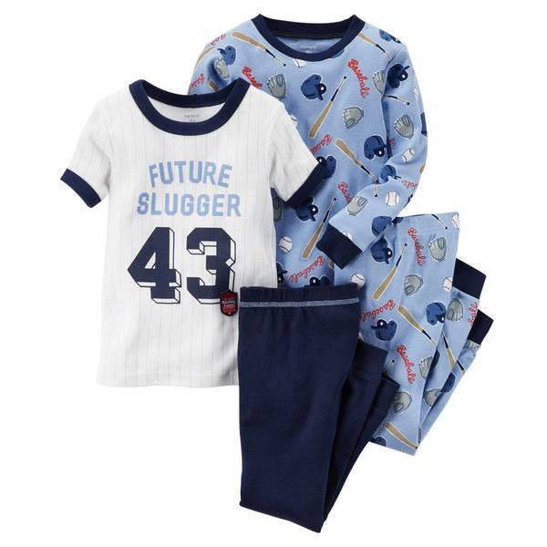 Boy's Blue & White 4-Piece Cotton Pajamas