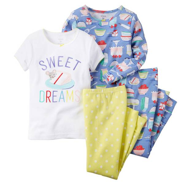 Infant Girl's Multi Colored 4-Piece Cotton Pajamas