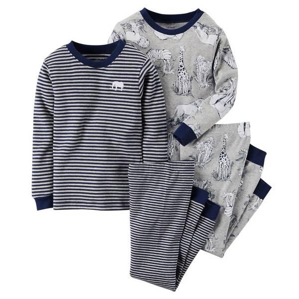 Boy's Blue & Gray 4-Piece Cotton Pajamas