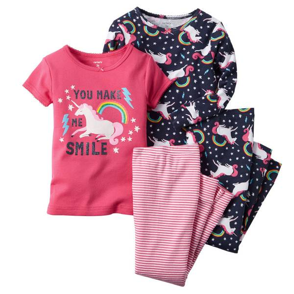 Infant Girl's Multi Colored 4-Piece Snug Fit Cotton Pajamas