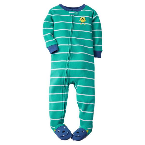 Infant Boy's Turquoise 1-Piece Cotton Pajamas