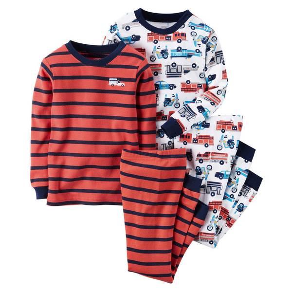 Infant Boy's Multi Colored 4-Piece Cotton Pajamas