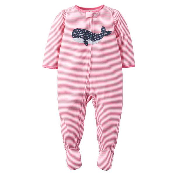 Infant Girl's Pink 1-Piece Whale Striped Sleeper
