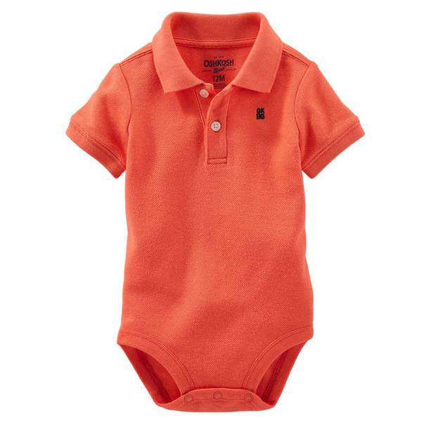 Baby Boy's Coral Polo Bodysuit