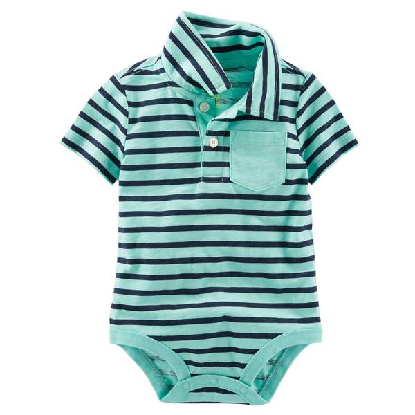 Infant Boy's Mint Polo Bodysuit