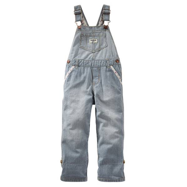 Infant Girl's Blue Striped Overalls