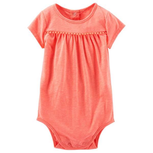 Infant Girl's Orange Heathered Pompom Bodysuit