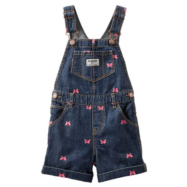 Baby Girl's Blue Butterfly Schiffli Shortalls