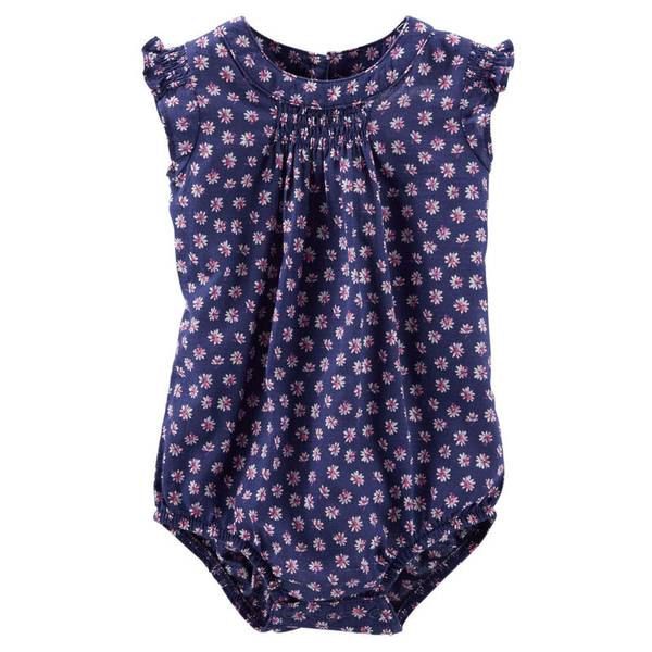 Infant Girl's Navy Flutter-Sleeve Bodysuit