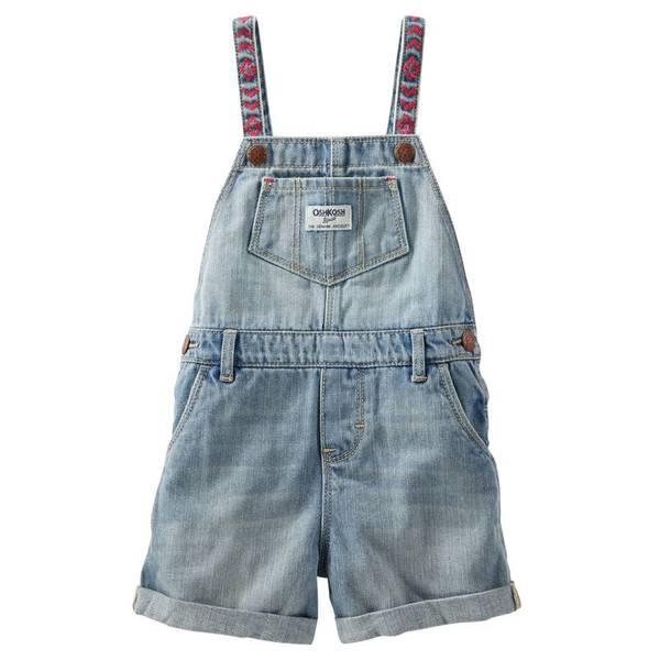 Infant Girl's Blue Embroidered Shortalls