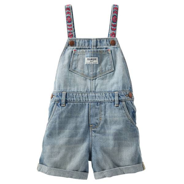 Baby Girl's Blue Embroidered Shortalls