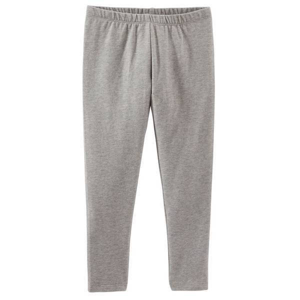 Girl's Gray Solid Leggings