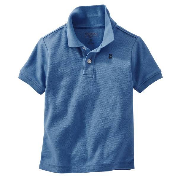 Toddler Boy's Blue Pique Polo
