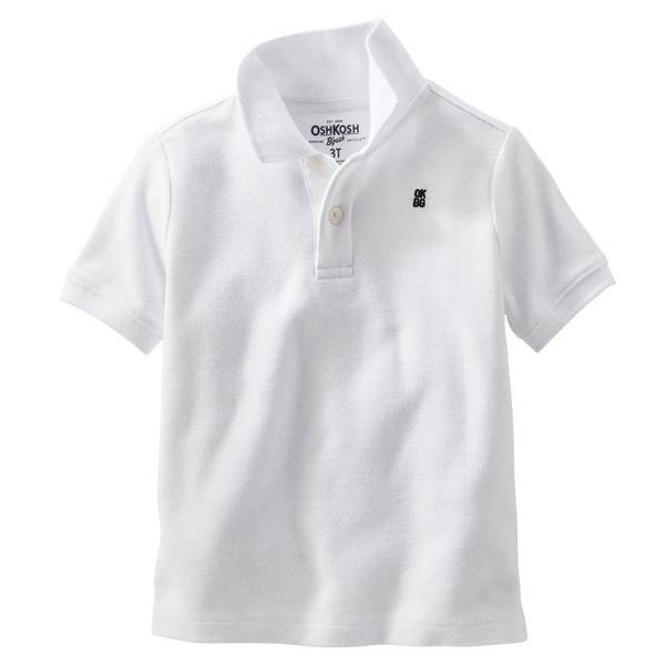 Toddler Boy's White Pique Polo