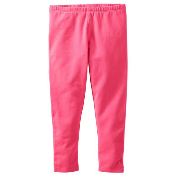 Girl's Pink Solid Leggings