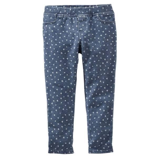 Girl's Blue Heart Print Knit Jeggings