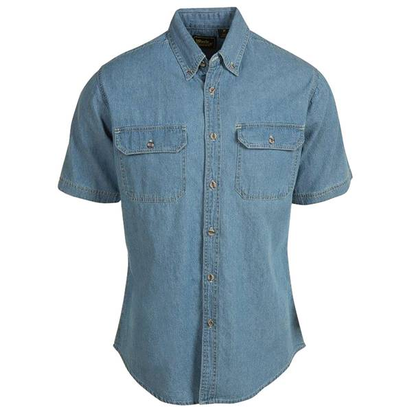 Men's Short Sleeve Teflon Denim Shirt