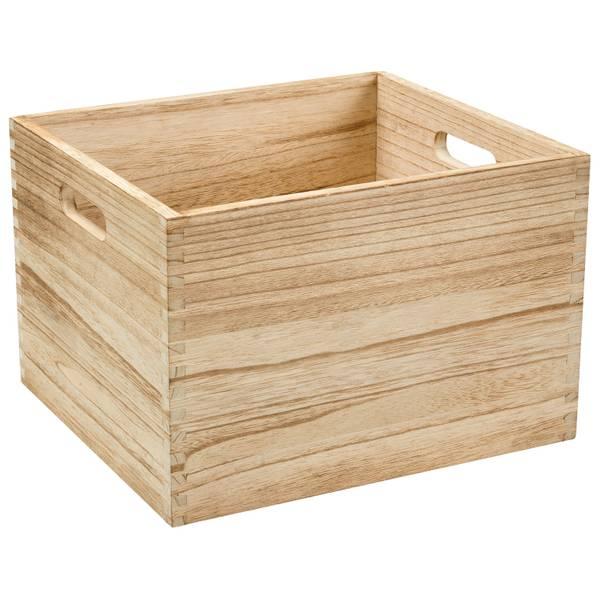 Basketville Paulownia Wood Small Milk Crate