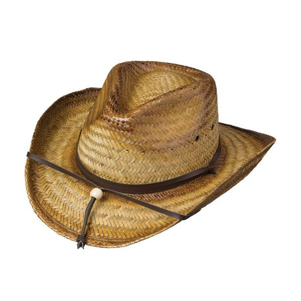 Men's Tea-Stained Woven Straw Western Hat