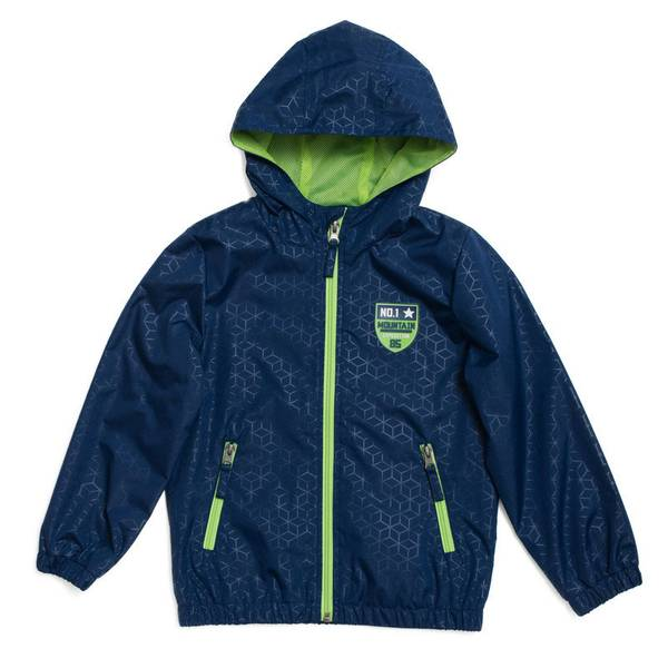 Boy's Navy Stamp Print Polyester Jacket