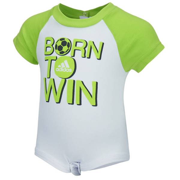 Infant Boy's White & Green Born To Win Bodysuit