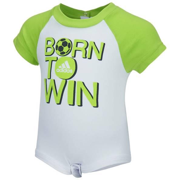 Infant Boy's White & Green Born To Win Bodysuit