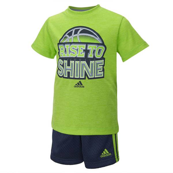 Baby Boy's Green & Navy 2-Piece Rise To Shine Tee & Shorts Set