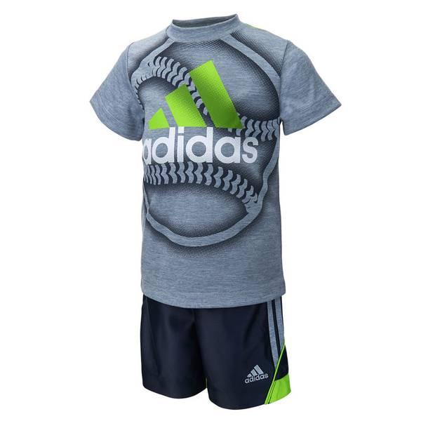 Baby Boy's Gray & Navy Slam Dunk Tee & Shorts Set