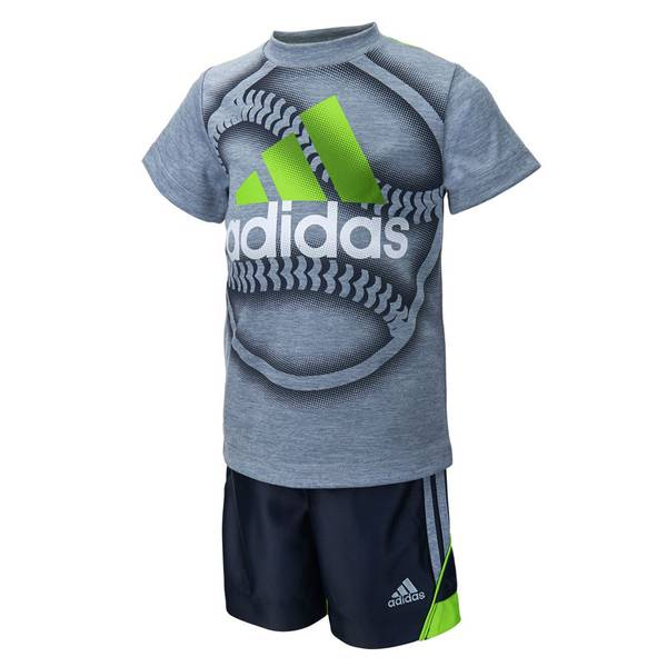 Toddler Boy's Gray & Navy Slam Dunk Tee & Shorts Set