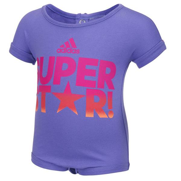 """Infant Girl's Purple """"Super Star"""" Bodysuit"""