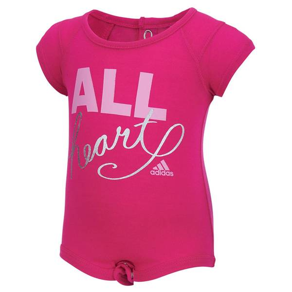 "Infant Girl's Shock Pink ""All Heart"" Bodysuit"