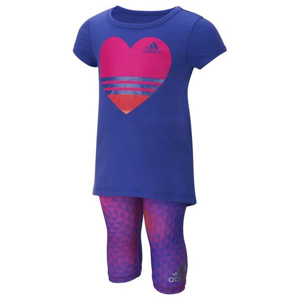 Toddler Girl's Purple Heart Capri & Shirt Set