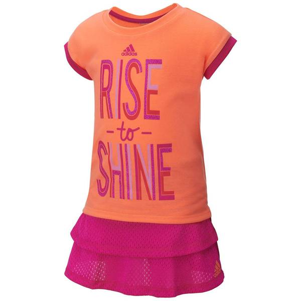 "Baby Girl's Orange & Pink 2-Piece ""Rise to Shine"" Top & Leggings Set"