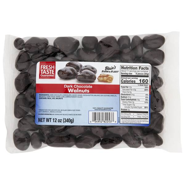 12 oz Dark Chocolate Covered Walnuts