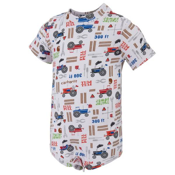 Infant Boy's White Tractor Bodysuit