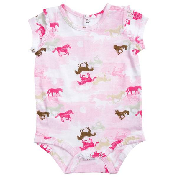 Infant Girl's Pink Camo Horse Printed Bodyshirt