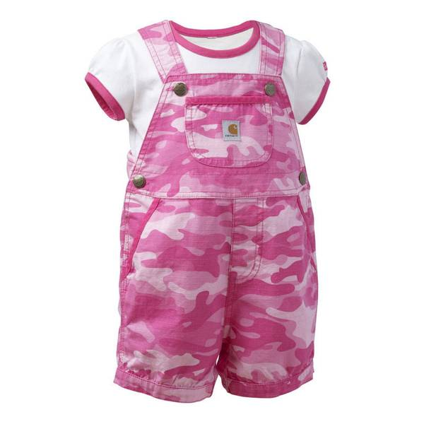 Infant Girl's Camouflage Ripstop Shortall Set