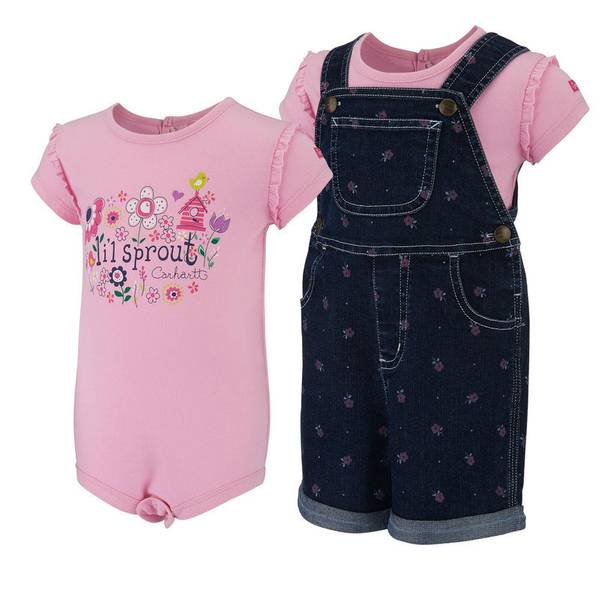 Baby Girl's Denim Shortall Set