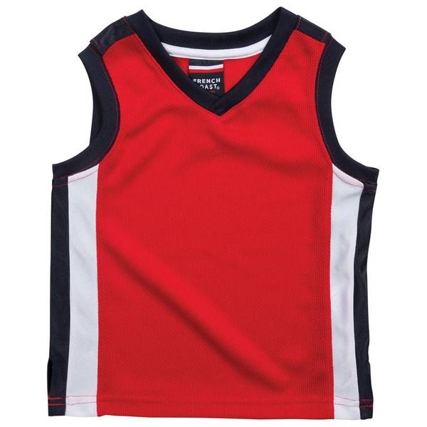Toddler Boy's Red Active Mesh V-Neck Top
