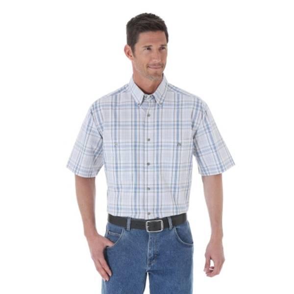 Wrangler men 39 s khaki short sleeve button down shirt at for Khaki button up shirt