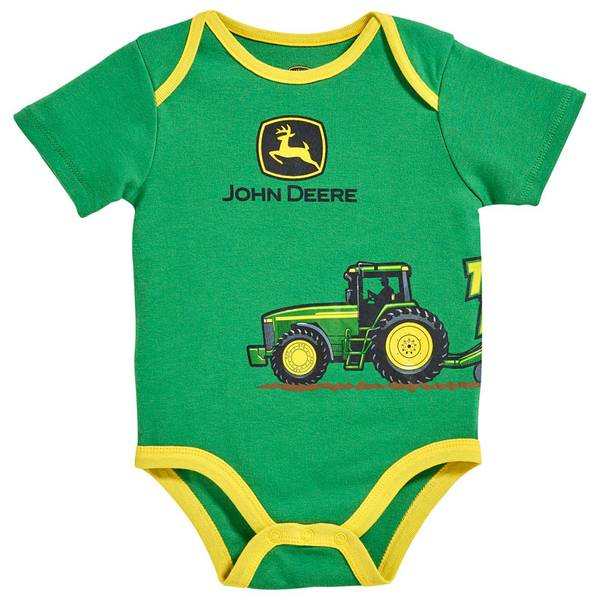 Baby Boy's Green Short Sleeve Tractor Power Bodysuit