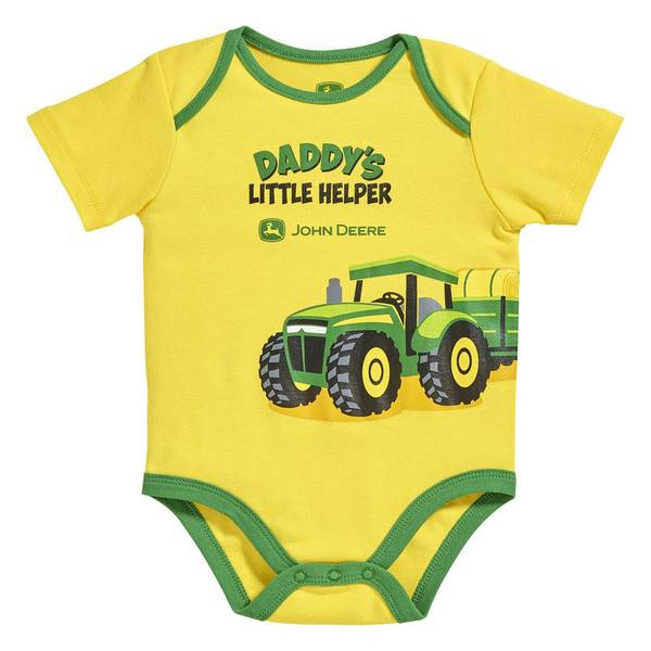Baby Boy's Yellow & Green Short Sleeve Daddy's Helper Bodysuit