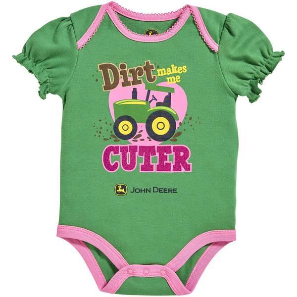 "Baby Girl's Green Short Sleeve ""Dirt Makes Me Cuter"" Bodysuit"
