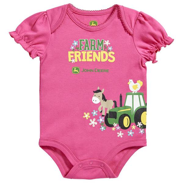Baby Girl's Magenta Farm Friends Bodysuit