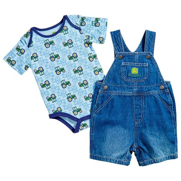 Infant Boy's Light Blue & Denim Blue Tractors Overall Set